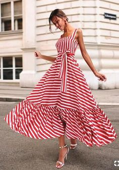 Boho Summer Beach Dress Women Spagetti Strap Red Striped Dress Plus Size Ruffle Long Maxi Dress Xxxl – Mode Outfits Sexy Maxi Dress, Sexy Dresses, Dress Skirt, Beautiful Dresses, Dress Outfits, Short Dresses, Fashion Dresses, Summer Dresses, Awesome Dresses