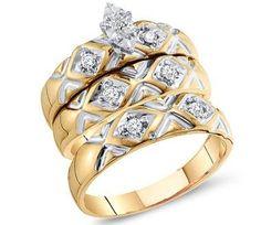 Diamond Rings Engagement Wedding Bands Yellow Gold Men Lady   mens wedding rings
