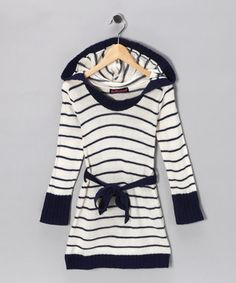 Girl's striped long sweater.