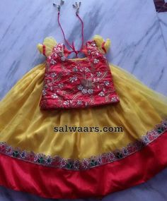 Thread Work Blouse Yellow Lehenga