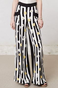 NWT Daisy Deux Wide-Legs Elevenses Striped Graphic Pants Orig $118 Anthropologie #GraphicPrint #AnthropologieElevenses #WideLegsPants #Anthropologie