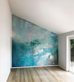 Murals — Camille Javal - Ocean water painted contemporary abstract mural in pastel blue, green and metallic paint, featuring a wave, drips and geometric shapes, the artwork has movement and reflects light in the living room. Deco Design, Wall Design, House Design, Wall Decor, Room Decor, Room Art, Diy Wall, Metal Tree Wall Art, Pastel Blue