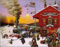Charles Wysocki Art | Charles Wysocki - Whistle Stop Christmas: Christmas