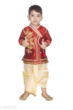 Kurta Sets Doodle Ethnic Silk Kid's Boy's Kurta Sets  *Fabric* Kurta - Silk , Dhoti - Silk  * Sleeves* Full Sleeves Are Included  *Size* Age Group (0 - 1 Year) - 16 in Age Group (1 - 2 Years) - 18 in Age Group (2 - 3 Years) - 20 in Age Group (3 - 4 Years) - 22 in  *Type* Stitched  *Description* It Has 1 Piece Of Kid's Boy's Kurta & 1 Piece Of Kid's Boy's Dhoti  *Work* Kurta - Embroidered , Dhoti - Border Work  *Color* Kurta - Red , Dhoti - Cream  *Sizes Available* 2-3 Years, 3-4 Years, 0-6 Months, 6-12 Months, 12-18 Months, 18-24 Months, 0-1 Years, 1-2 Years *   Catalog Rating: ★3.9 (482)  Catalog Name: Doodle Ethnic Silk Kid's Boy's Kurta Sets Vol 1 CatalogID_691808 C58-SC1170 Code: 491-4752787-