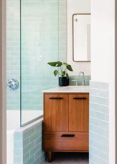 Minty Green Bathroom Subway Tile | Fireclay Tile Aqua Bathroom, White Bathroom Cabinets, Bathroom Floor Tiles, Fireclay Tile, Bathroom Renovations, Spa Bathrooms, Style Tile, Subway Tile, Green