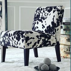 Add country appeal to your home with the Weston Home Black Cow Hide Lounger Chair . This comfortable lounger has the look of genuine spotted cowhide. Cowhide Fabric, Cowhide Chair, Cowhide Furniture, Western Furniture, Furniture Chairs, Garden Furniture, Furniture Ideas, Living Room Chairs, Living Room Furniture