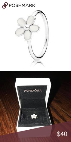 PANDORA Delicate Daisy White Enamel & Silver Ring PANDORA Delicate Daisy White Enamel & Silver Ring Comes in Pandora box Pandora Jewelry Rings