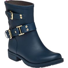 COLORS OF CALIFORNIA Biker Zip Low Rain Boot Navy ($150) ❤ liked on Polyvore featuring shoes, boots, ankle booties, ankle boots, navy rubber, short boots, buckle boots, rubber boots, rubber sole boots and back zipper boots