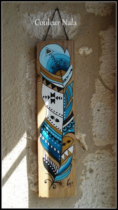 Tableau ethnique amérindien sur bois de palette, motif plume tons turquoise, blanc, noir, doré, peinture à l'huile : Peintures par couleur-nala