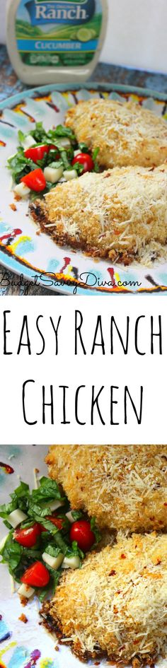 Easy Ranch Chicken Recipe - this is my go to chicken recipe for the summer - Taste just like Ranch but in chicken form. Tons of cheese on top too! Match made in HEAVEN #FavRanchFlav @HiddenValley