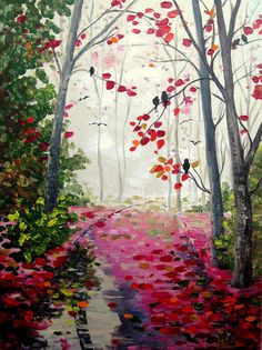 Painting Acrylic Original Birds Tree Autumn by ArtonlineGallery, $125.00