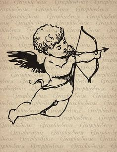 This is an image of Cupid actually shooting the arrow by using a bow as he is flying through the air. Baby Angel Tattoo, Cupid Tattoo, Cherub Tattoo, Kunst Tattoos, Body Art Tattoos, Small Tattoos, Cool Tattoos, Piercing Tattoo, Piercings