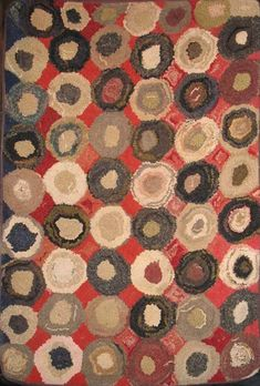 DOTS or CIRCLES ANTIQUE HOOKED RUG - 20054