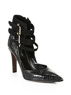 Derek Lam - Paloma Snakeskin & Suede Ankle Strap Pumps