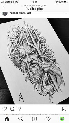Poseidon Tattoo, Poseidon Drawing, Gott Tattoos, Bild Tattoos, Norse Tattoo, Viking Tattoos, Armor Tattoo, Warrior Tattoos, Tattoo Ink