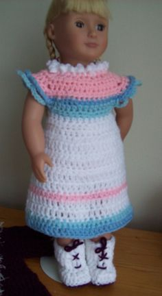 Free crochet pattern for American Doll. Pinned from the original source by Dorothy.