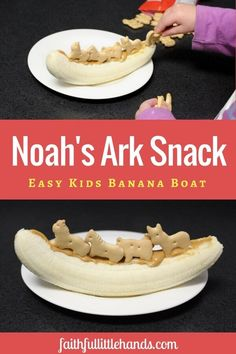 Noah's Ark Snack Activity - Easy toddler Bible story banana snack, Be a chef like the girl in the book Jobs of a Preschooler. Sunday School Snacks, Sunday School Activities, Sunday School Lessons, Sunday School Crafts, Bible Activities, Church Activities, Bible Lessons For Kids, Bible For Kids, Primary Lessons