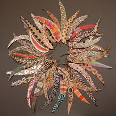 bicocacolors: bicocacolors shop woven painted leaves wall hanging inspired by primitive tribal art