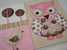 So cute for baby's room!!      Pink and chocolate brown birds owls polka by theprincessandpea, $18.00