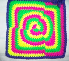 Neon Colour Collision by Lisa Marie  http://www.knit-a-square.com/