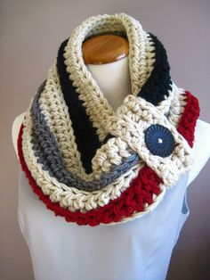 Chunky Bulky Button Crochet Cowl:  Off White with Black, Gray and Cranberry Stripe with Black Button, via Etsy.