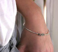 Leaf Bangle Bracelet in Sterling Silver  by ScarlettJewelry, $92.00