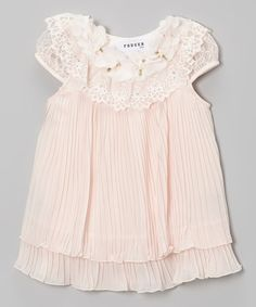Look at this Peach Pleated Chiffon Cap-Sleeve Dress - Toddler & Girls on #zulily today!