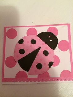 Cute Birthday Card for a little girl. Ladybug from Cricut Doodlecharms. ~ from Me & My House