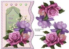 Wave Card beautiful Roses Pearls on Craftsuprint designed by Marijke Kok - Gorgeous roses for a beautiful card, for any occasion! with love... - Now available for download!
