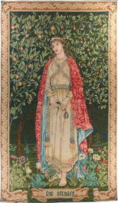 "The Orchard is from The Seasons tapestry of William Morris and John Henry Dearle. It was woven by Morris & Co in 1890 at Merton Abbey from wool and silk, now at the Victoria and Albert Museum. Today it is available as a French tapestry: 47"" x 29""."