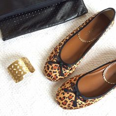 Leopard Print Ballet Flat Shoes HOST PICK!!! Total Trendsetter Party & Weekend Wear Party!!!OFFERS WELCOME BUT PLEASE USE THE OFFER BUTTON. I do not negotiate price in the comments. These are in great condition. Slight wear on one of the heels -- pictured above. Satin upper with a black bow. Size 7.5M. Chili's Shoes Flats & Loafers