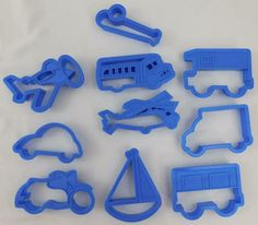 Transportation Cookie Cutter Set of 10 Bus Car Place Boat Motorcycle Helicopter #Unbranded