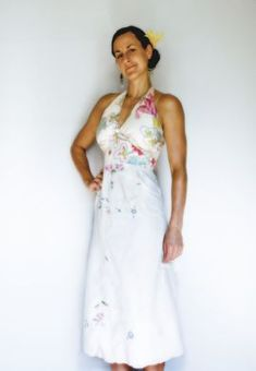 vintage tablecloth and scarf refashioned into dress - tutorial