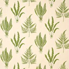 Sanderson woodland ferns green leafy fabric