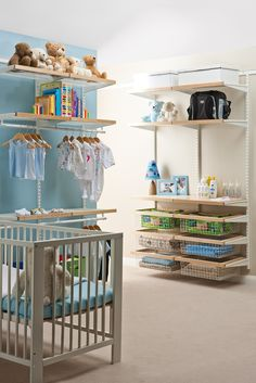 Organise your nursery with elfa® and you will be surprised with how much room you really have. Available from Howards Storage World.