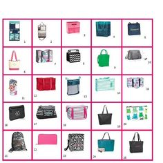 Thirty one gifts bingo #partygames #31 #thirtyonegifts Get your guests to pick 5 numbers. Randomly draw before the party so u can get yourself organized. As u call the numbers, either show the product and discuss, or if it's a fb party post a picture with a description :) this bingo card includes the style setter for summer 2015 and the all in tote for June.