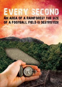 """""""A cada segundo, uma área da floresta tropícal no tamanho de um campo de futebol é destruída!"""" Tomar consciência do que está acontecendo ao redor é necessário; para evitar desmatamentos desnecessários e desgastes que podem ser evitados. www.eCycle.com.br Sua pegada mais leve."""