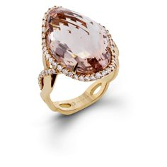 ZR1410- This exquisite Delicate Diva ring is formed in shades of pink, with a remarkable 15.03 ct morganite center stone set into 14k rose gold.