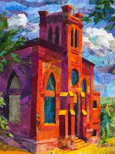 Torn paper collage paintings Church on the Hill Althea Sassman