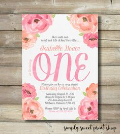 Girl First 1st One Birthday Party Invite by SimplySweetPrintShop