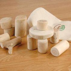 Baby Tree Blocks 12 natural wooden branch sections for block play - ages ½-3