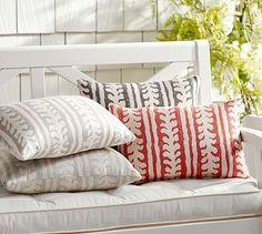 Sunbrella® Saratoga Indoor/Outdoor Pillow. #potterybarn. Love The  Terracotta Paired With