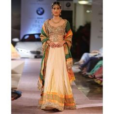 Cream Lengha Set with Applique and Stones Work