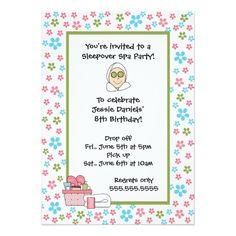 Spa Party Invite for girls CUTE!