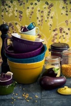 Plum and Teal ~ bowls- Fiesta Ware- Plum, Turquoise and Sunflower