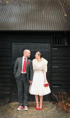 Groom in slim suit, red tie, red converse, image by Haywood Jones Photography