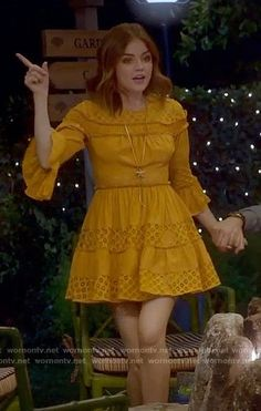 Aria's yellow ruffled dress on Pretty Little Liars. Outfit Details: https://wornontv.net/73250/ #PLL