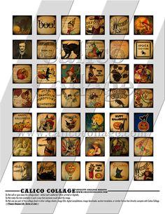 Vintage Halloween - Digital Collage Sheet - 1x1 Inchies Size 690