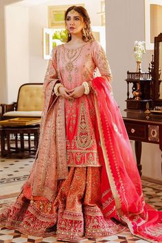 Pakistani Wedding Outfits, Pakistani Wedding Dresses, Pakistani Dress Design, Bridal Outfits, Indian Outfits, Pakistani Bridal Lehenga, Raw Silk Fabric, Pink Fabric, Designer Party Wear Dresses