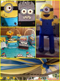 Minion Party!! Piñata, cake, minion pops, patio decor, banana eating contest, pin the goggles on the minion, musical chairs to the soundtrack of despicable me!! Fun time.